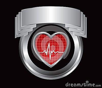 Heartbeat in silver crest