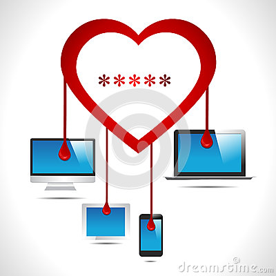 Heartbleed bug virus heart bleed bug with computer, tab, mobile, laptop virus concept- vector eps10 Vector Illustration