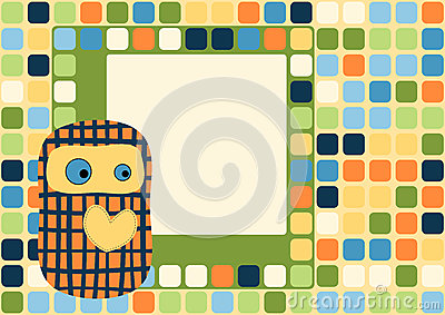 Hearted toy doll greeting card with squares