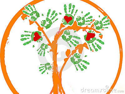 Hearths hands tree as a logo.