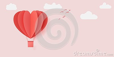 Vector illustration design with paper cut red heart shape origami made hot air balloons flying in with white clouds Vector Illustration