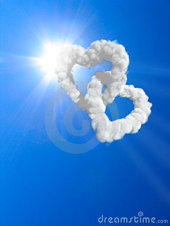 Free Hearts And Clouds Royalty Free Stock Photography - 9883317