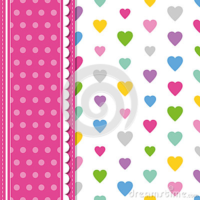Free Hearts And Polka Dot Greeting Card Stock Photo - 44358120