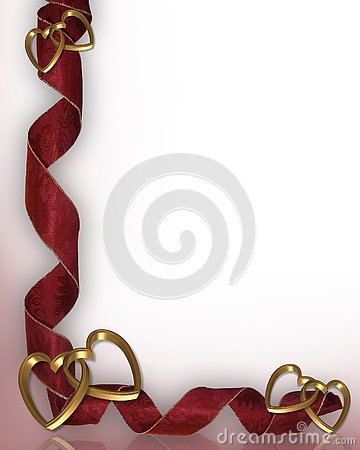 Free Hearts And Ribbons Border Valentine Royalty Free Stock Photography - 4049097