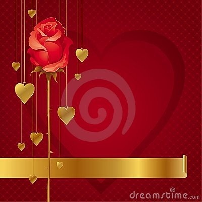 Free Hearts And Rose Background Stock Image - 17835561