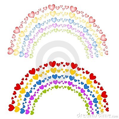 Hearts as Colorful Rainbows Clip Art