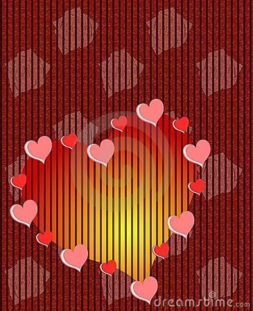 Hearts background with flowers in red