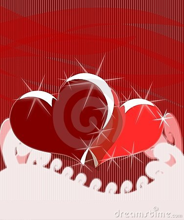 Hearts on abstract red background
