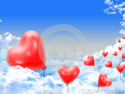 Hearts balloons over the clouds