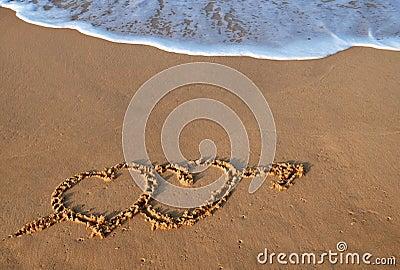 Hearts on beach