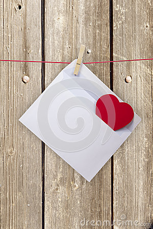 Hearts and blank envelop