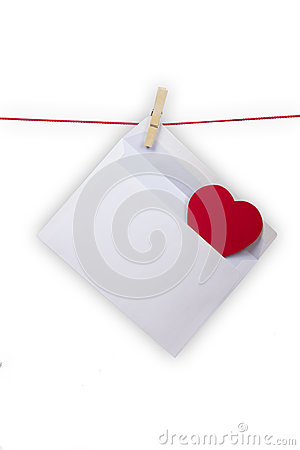 Hearts and blank envelop isolated on white background