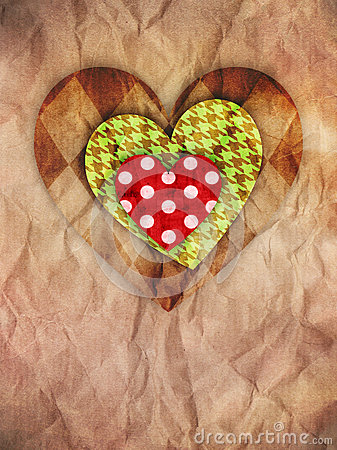 Hearts on brown paper