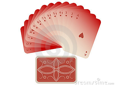Hearts cards fan with deck isolated on white