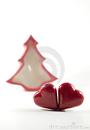 Hearts with christmas-tree