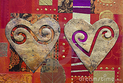 Hearts on collage