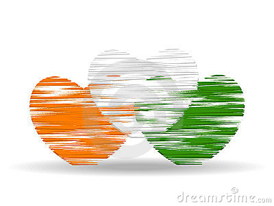 Hearts colored in an Indian National Flag color