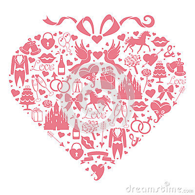 Hearts composition of Wedding Design  icons for We