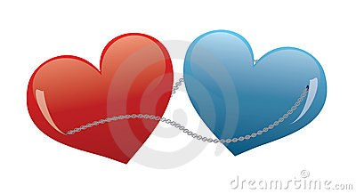 Hearts connected by a chain