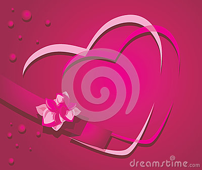 Hearts on the crimson background