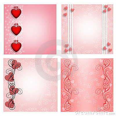 Hearts designs for labels or cards 4 styles