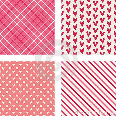 Hearts, Diagonal Stripes & Crosshatch Patterns