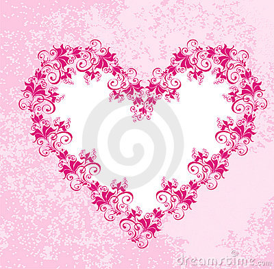 Hearts on dirty pink background. Vector
