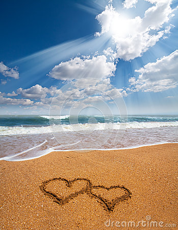Hearts Drawn On The Sand Of A Beach Stock Photo - Image ...