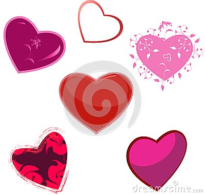 The hearts, five variants