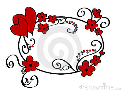 Hearts and floral frame