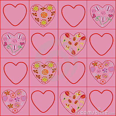 Hearts floral pattern