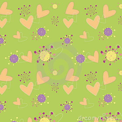 Hearts floral seamless pattern wallpaper