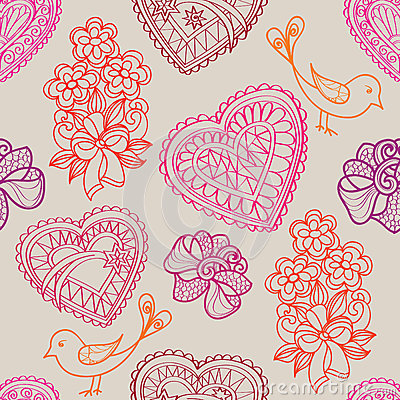 Free Hearts Flowers And Birds Seamless Background. Love Retro Texture. Royalty Free Stock Photos - 37419228