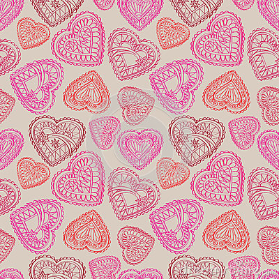 Free Hearts Flowers And Birds Seamless Background. Love Retro Texture. Royalty Free Stock Photos - 37419348
