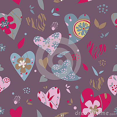 Hearts flowers pattern