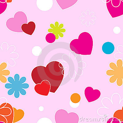 Hearts and flowers on a pink background