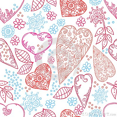 Hearts and flowers seamless texture