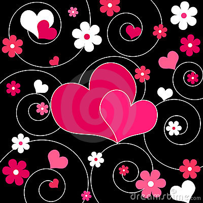 Hearts and flowers - Vector