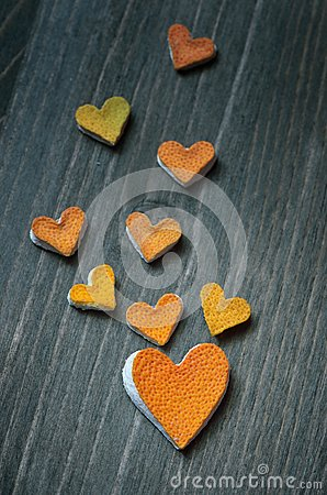 Free Hearts From The Peel Of Citrus Stock Photo - 28372760