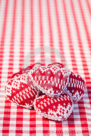 Hearts on gingham tablecloth