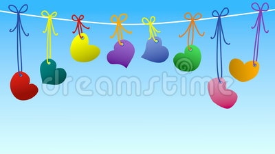 Hearts hanging on a rope loop animation stock footage