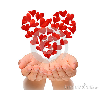 Free Hearts In Heart Shape Flying Over Cupped Hands Of Young Woman, Birthday Card, Valentine S Day, Love Concept, Isolated On Whit Royalty Free Stock Photo - 65477965