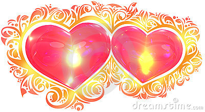 Hearts in love composition with ornament