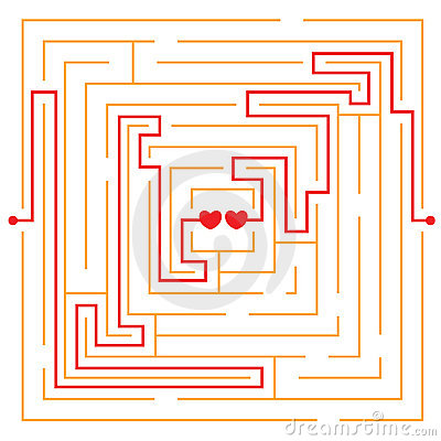 Hearts in love labyrinth