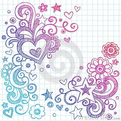 Hearts Love Sketchy Doodles Vector Design Elements
