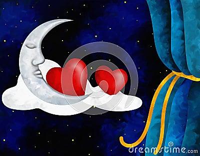 Hearts and moon