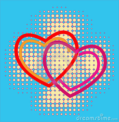 Hearts over halftone background
