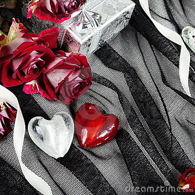 Hearts over Textile Still Life with Roses