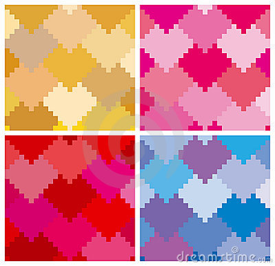 Hearts pattern in 4 variation