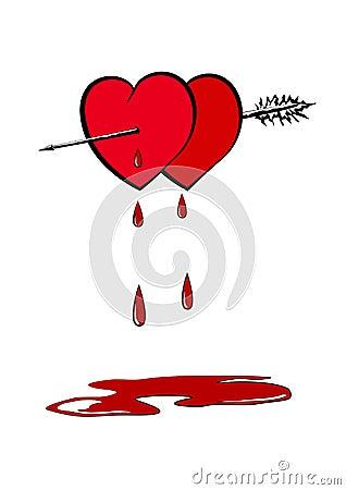 Hearts pierced with an arrow